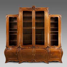 Antique Art Nouveau walnut bookcase