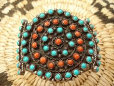 Vintage Zuni Turquoise and Coral Cluster Cuff by joyceshafer, $495.00