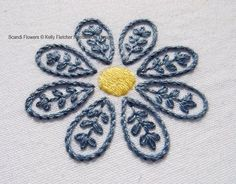Scandi Flowers Scandinavian hand embroidery by KFNeedleworkDesign. For Sale. Image Only. jwt