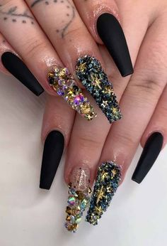 popular gel glitter coffin nail designs 25 ~ my. Sparkle Nail Designs, Nails Design With Rhinestones, Black Nail Designs, Sparkle Nails, Halloween Acrylic Nails, Black Acrylic Nails, Summer Acrylic Nails, Black Nails, Perfect Nails