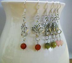 Silver Lotus Flower Earrings Jade Citrine Rose by EmbracetheMoon