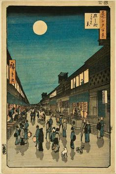 Night View of Saruwaka Street, from the 100 Famous Views of Edo, by Hiroshige, 1856