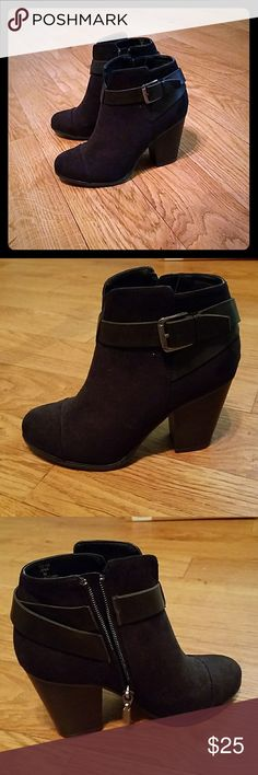 Never worn black suede booties Excellent condition! 3 inch heel LimeLite Shoes Heeled Boots
