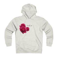 """ Roses"" Adult Unisex Heavyweight Fleece Hoodie ($65) ❤ liked on Polyvore featuring tops, hoodies, rosette top, white top, hooded fleece pullover, fleece tops and rose top"