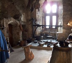 Kitchen inside Vianden Castle, Luxembourg.