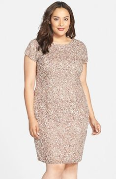 Adrianna Papell Embellished Short Sleeve Cocktail Dress (Plus Size) available at #Nordstrom