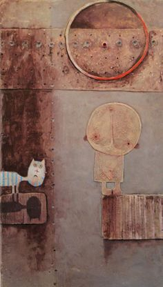 Alik Assatrian Dialogue with the moon 2010 Acrilic on wood