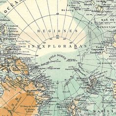 1923 North Pole Vintage Map  Expeditions Arctic Ocean.