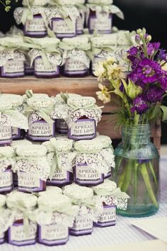 #purple wedding tables ... Spread the love ... homemade purple preserves with your names on the jar ... For a Reception Guide ... https://itunes.apple.com/us/app/the-gold-wedding-planner/id498112599?ls=1=8 ... plus how to organise your entire wedding ... The Gold Wedding Planner iPhone App ♥