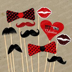 Valentines Day Mustache Bash Party Photo Booth by thatpartygirl, $3.25