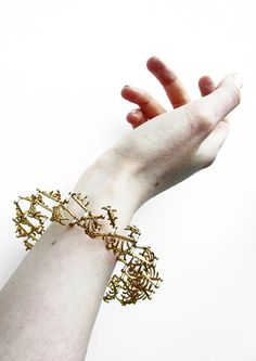Ieva Mikutaite, Glasgow School of Art.  'Articulation' expanding bracelet in silver and gold plated silver