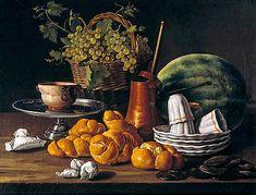 luis Egidio Melendez (1716-1780) Nature morte aux pains, chocolatière et raisin Prodo, Madrid