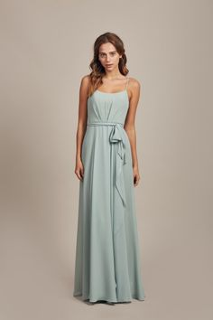 Spaghetti strap bridesmaids dress with ballerina neckline from Amsale Bridesmaids. Shown in Sage and Ice.
