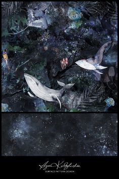 """Magic forest"" - a surface pattern design collection, hand illustrated by Aga Kobylińska, featuring whales, jellyfish, stingrays floating in a mysterious ocean of stars. Anything is possible here. Prints available on baby products (bedding, clothes, mom's bags) of Makaszka brand. (makaszka.pl) Textile Design, Fabric Design, Stingrays, Magic Forest, Paper Illustration, Anything Is Possible, Aga, Surface Pattern Design, Whales"