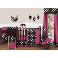 11pc Crib Bedding Set for the Hot Dot Collection by Sweet Jojo Designs, Black