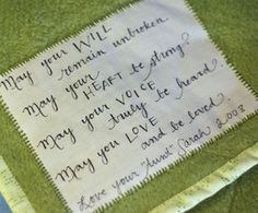 May your will remain unbroken quilt label