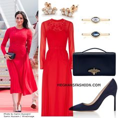 The Duke and Duchess of Sussex took a chartered flight from Fiji to Tonga, where they will be met at Fua'amotu Airport by Princess Angelika Latufuipeka. Meghan Markle wore a red Self-Portrait pleated dress Princess Diana Family, Princess Meghan, Prince Harry And Meghan, Royal Fashion, Girl Fashion, Fashion Looks, Womens Fashion, Fashion Trends, Meghan Markle Outfits