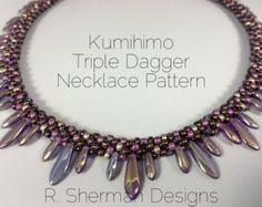 PDF Kumihimo Pattern - Kumihimo Triple Dagger Necklace