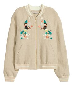 Pilot jacket in linen with sequined embroidery at front and striped ribbing at neckline, cuffs, and hem. Front zip, front pockets, and side pockets.| H&M Pastels