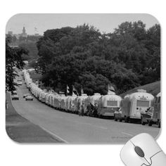 Long line of Airstream trailers wait for parking