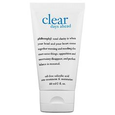 philosophy Clear Days Ahead Oil-Free Salicylic Acid Acne Treatment & Moisturizer 2 oz/ 60 mL Acne Moisturizer, Homemade Moisturizer, Homemade Skin Care, Acne Skin, Acne Prone Skin, Body Acne, Acne Blemishes, Pimples, Cystic Acne Treatment