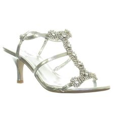 silver wedding shoes low heel | Womens Silver Diamante Low Mid Heel Wedding Bridal Party Shoes Sandals ...