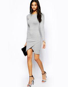 ASOS Long Sleeve Asymmetric Body-Conscious Dress http://asos.to/1m7Tq7x