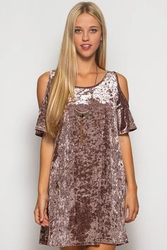OH MY!!!! Its Back!!!! Soft velvet dress with cold shoulder fully lined with light fabric to keep you cool yet a velvet look for a sexy look