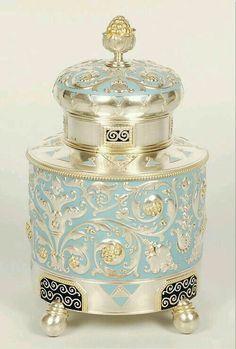 Fabergé silver, parcel-gilt, enamel tea caddy. Moscow, 1908-1917