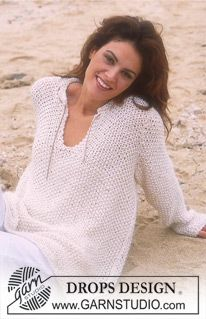 "Ravelry: Pullover in ""Cotton Viscose"" and ""Vivaldi"" pattern by DROPS design Sweater Knitting Patterns, Cardigan Pattern, Knit Patterns, Clothing Patterns, Jumper Patterns, Summer Knitting, Free Knitting, Crochet Woman, Knit Crochet"