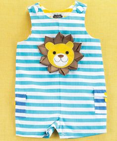 Look at this Mud Pie Turquoise & Yellow Stripe Lion Shortalls - Infant on #zulily today!