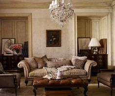A sitting room— French furniture by Ralph Lauren.