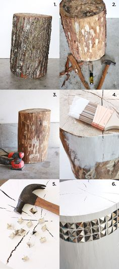 Supplies: Wooden stump, white acrylic indoor paint, hand-held sander, chisel, hammer, pyramid upholstry nails, masking tape.