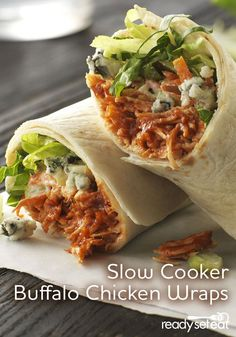 Tender shredded buffalo chicken from the slow cooker and crunchy celery-carrot slaw with ranch make enough wraps to serve a crowd or perfect for leftovers the next day