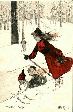 Julekort Otto Moe Vinter i Norge utg E. A. Schjørn/Verdenspostforeningen brukt 1908