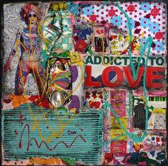 Collage réalisé avec des magazines, du carton, des canettes compressées, de la peinture et du vernis acryliques.