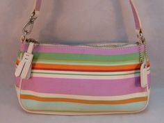 Coach Demi Purse Wristlet Bag Colorful Striped Hampton Leather Trim Cute F10802 #Coach #Baguette