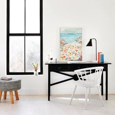 The simple lines and casual elegance of our Low Tide Desk may just inspire you to pen your first novel. If so, please send us a signed copy! Maine Cottage, Office Essentials, Office Lighting, Desk Setup, Home Office Decor, Home Decor, Hand Shapes, Simple Lines, Casual Elegance