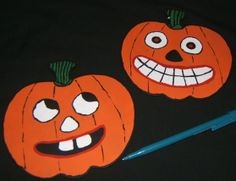Handpainted vintage Halloween pumpkin magnets.