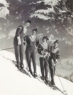 1958 World Cup competition in Bad Gastein, Austria. From left: Borghild Niskin, Inger Jørgensen, Inger Bjørnbakken, and Astrid Sandvik, all from Norway.