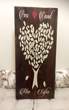 Family Heart Tree Wood Sign