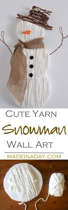 Cure the winter blues by making this sweet Yarn Snowman Wall Art. Complete tutorial and supplies on MadeinaDay.com