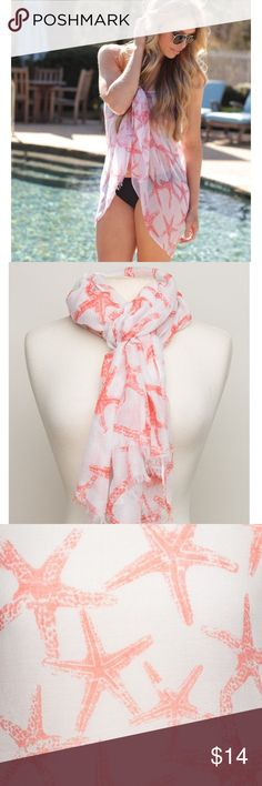 Starfish Scarf in Coral New with tags inter-coastal scarf with a starfish pattern in the color coral. Can have many purposes as shown in pictures. Perfect for upcoming spring and summer. Not urban outfitters just used for exposure. Price is firm Urban Outfitters Accessories Scarves & Wraps
