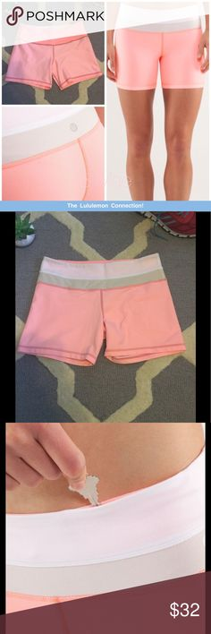 Lululemon REVERSIBLE perfect condition shorts 🍬🌸 *perfect condition* Comes from clean, smoke free home! Message me with any questions ☺️😊  our signature luon fabric is wicking and soft against your skin the wide, smooth waistband won't dig in stash your cards and keys in the hidden waistband pocket chafe-resistant flat seams help keep sweaty skin free from irritation   fabric(s): luon® properties: moisture-wicking, preshrunk, breathable, four-way stretch, chafe-resistant rise: medium…