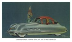 1940's Rendering Futuristic Buick with Model