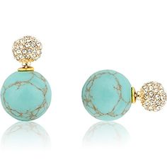 Double-Sided Studs in Pave & Turquoise