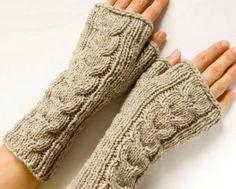 Long Cabled Fingerless Mittens, Beige Fingerless Gloves, Knit Arm Warmers, Wrist Warmers