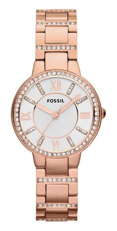 Fossil Dameshorloge 'Virginia' Rosékleurig & Zirkonia's ES3284. Een mooi ene trendy horloge. Zowel de band als de kast zijn rosékleurig uitgevoerd en de wijzerplaat is zilverkleurig en voorzien van rijtjes zirkonia's.  https://www.timefortrends.nl/horloges/fossil/dames.html