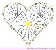 Crochet heart for those who love crochet. see the point - Crochet Designs Free Crochet Diagram, Crochet Chart, Crochet Motif, Crochet Designs, Crochet Doilies, Crochet Flowers, Crochet Stitches, Crochet Patterns, Knitting Patterns