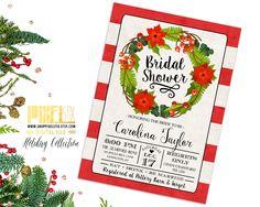Printable Christmas Bridal Shower Invitation - Christmas shower - Holiday shower - Red Stripes  - Christmas Wreath - Winter Wedding Shower by shopPIXELSTIX on Etsy